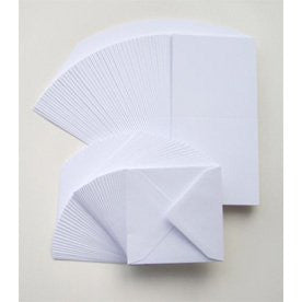 "5"" x 5"" White Cards & Envelopes x 50"