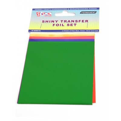 10 Sheets Transfer Foils Assorted Colours Red Blue Green Silver & Gold