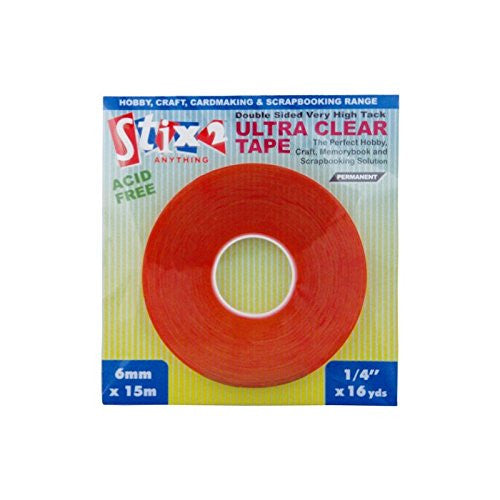 Stix2 Double Sided Ultra Clear Very High Tack Adhesive Tape, 6mm X 15m