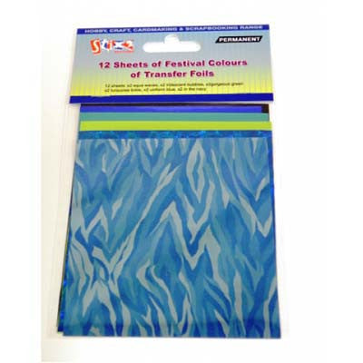 12 Sheets Transfer Foils Festival Colours Shiny Iridescent Blue Green Turquoise