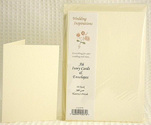 A6/C6 Ivory Hammered Cards And Envelopes x 50