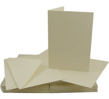 A6/C6 Size Ivory colour Linen Cards And Envelopes x 50