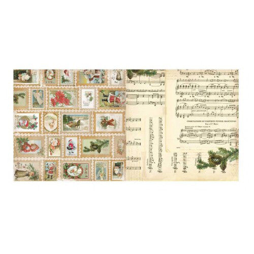 "Christmas Collage Double-sided Cardstock 12""x12""-Stamps"