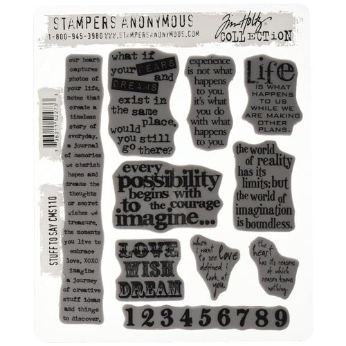Tim Holtz 7 x 8.5-inch Cling Rubber Stamp Set Stuff 2 Say