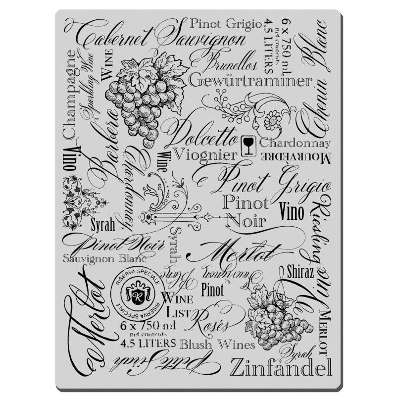 Stampendous Cling Rubber Stamp 4-inch X 6-inch Sheet-Wine Labels