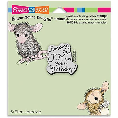 "Stampendous House Mouse Cling Rubber Stamp 3.5""x4"" Sheet-Joy Birthday"