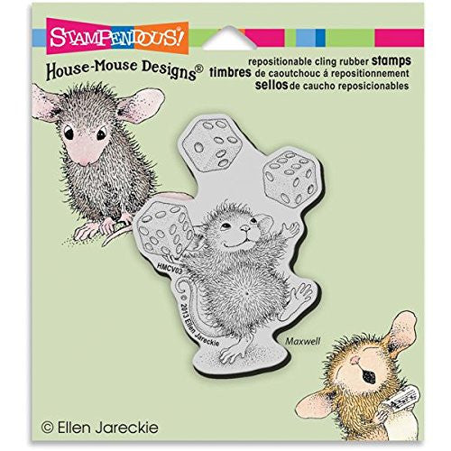 Stampendous Rubber House Mouse Cling Stamp 3.5-inch X 4-inch, Juggling Dice