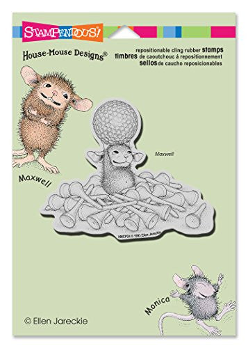 Stampendous Rubber House Mouse Cling Stamp 4.5-inch X 5.5-inch, Tee Time