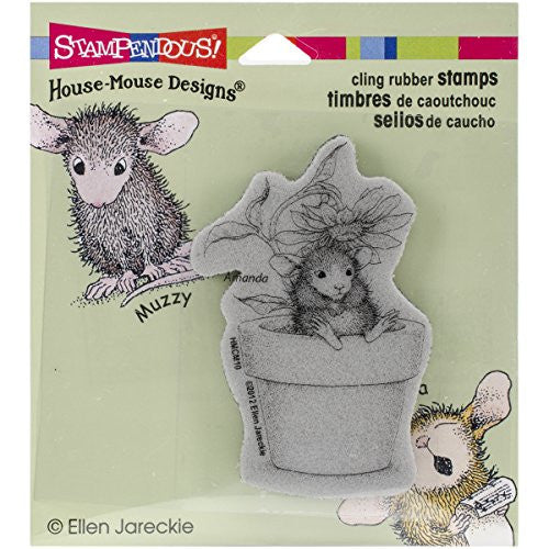Stampendous Rubber House Mouse Cling Stamp 4.75-inch X 4.5-inch, Potted Mouse