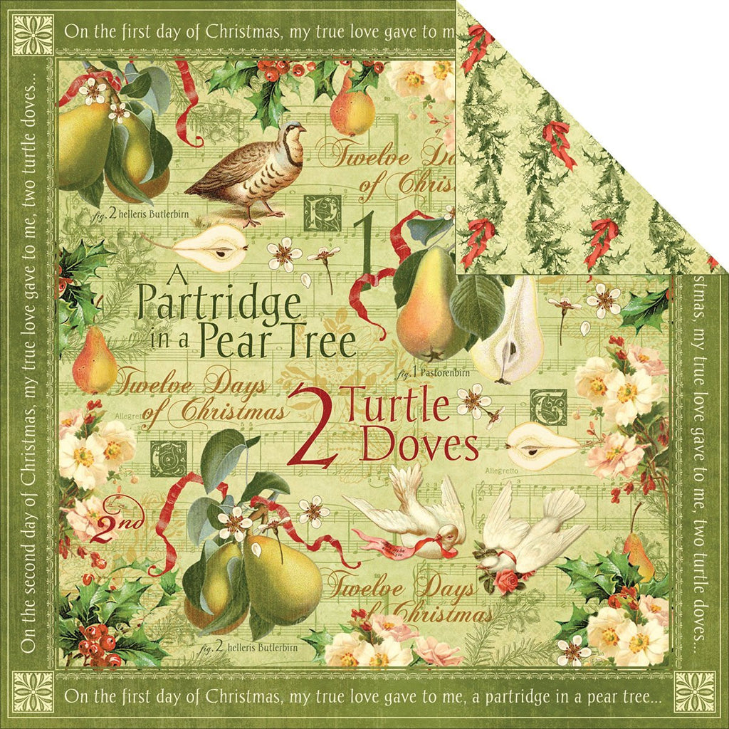 "12 Days Of Christmas Double-sided Cardstock 12""x12""-turtle Doves"