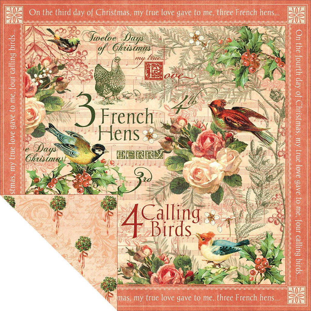 "12 Days Of Christmas Double-sided Cardstock 12""x12""-Calling Birds"