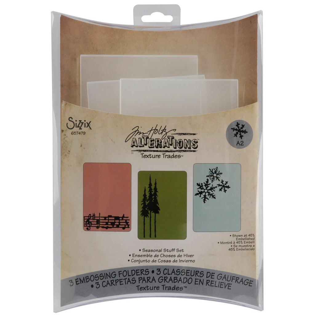 Sizzix Texture Trades Embossing Folders 3PK - Seasonal Stuff Set by Tim Holtz