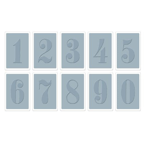 Sizzix Numbers Set By Tim Holtz Texture Trades Embossing Folders, Pack Of 10