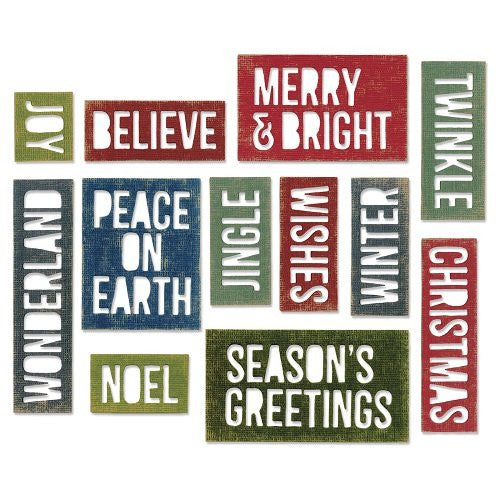 Sizzix Thinlits Holiday Words Block Die Set, Pack Of 17