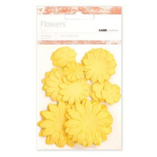 Kaisercraft Paper Flowers 2cm, 3-1/2cm, 5cm Assorted 60 Pcs - Sunshine