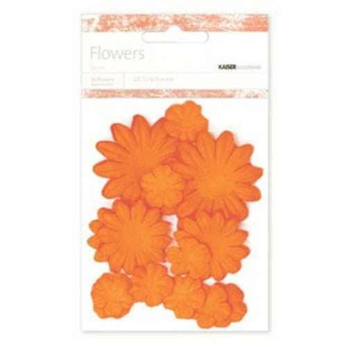 Kaisercraft Paper Flowers 2cm, 3-1/2cm, 5cm Assorted 60 Pcs - Pumpkin