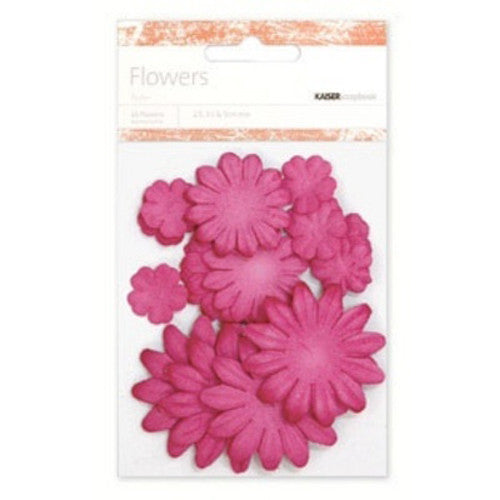 Kaisercraft Paper Flowers 2cm, 3-1/2cm, 5cm Assorted 60 Pcs - Lipstick