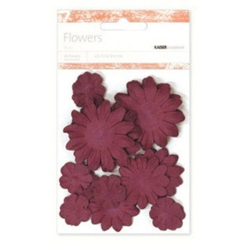 Kaisercraft Paper Flowers 2cm, 3-1/2cm, 5cm Assorted 60 Pcs - Burgundy