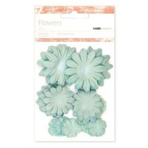 Kaisercraft Paper Flowers 2cm, 3-1/2cm, 5cm Assorted 60 Pcs - Blue Ice