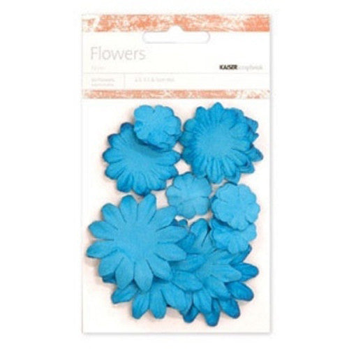 Kaisercraft Paper Flowers 2cm, 3-1/2cm, 5cm Assorted 60 Pcs - Lagoon