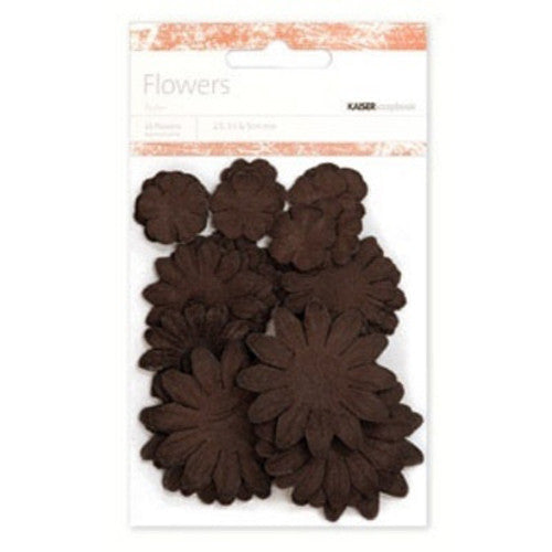 Kaisercraft Paper Flowers 2cm, 3-1/2cm, 5cm Assorted 60 Pcs -  Chocolate