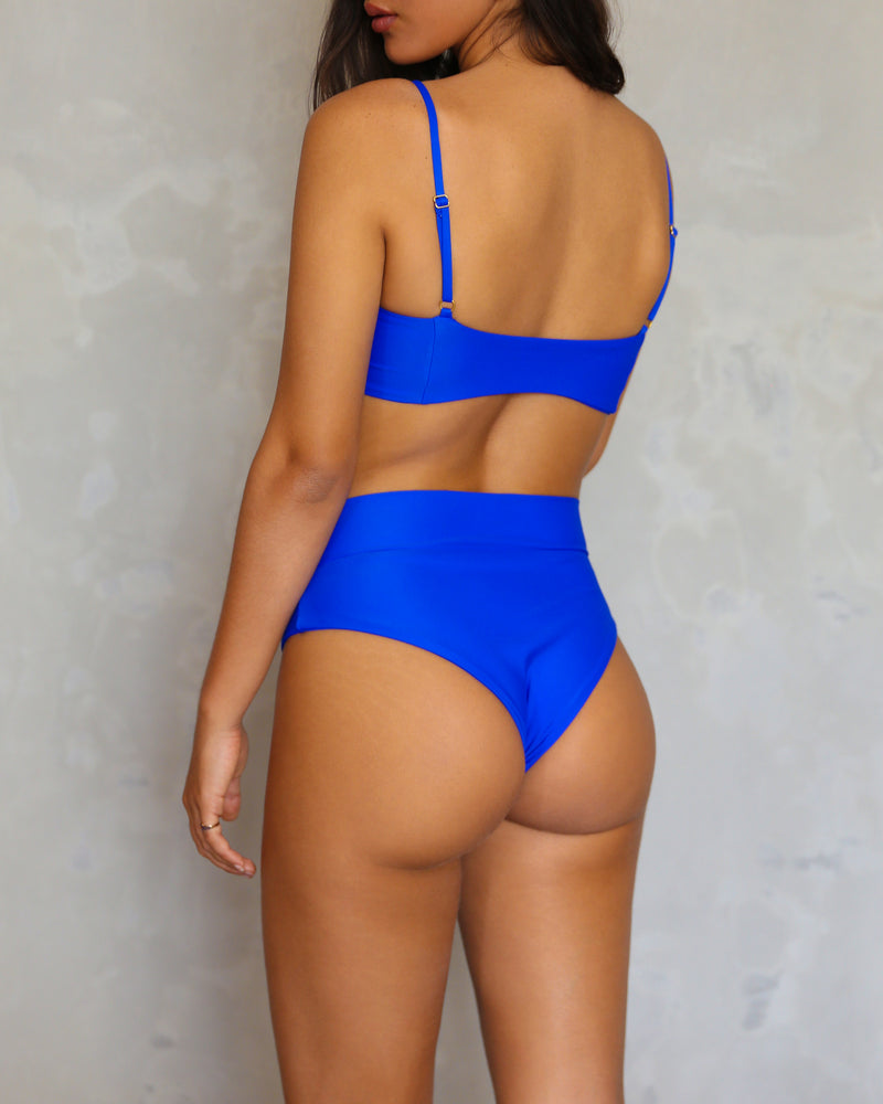 Haiku High Waist Bikini Bottom // Eco-Friendly - Tsunami