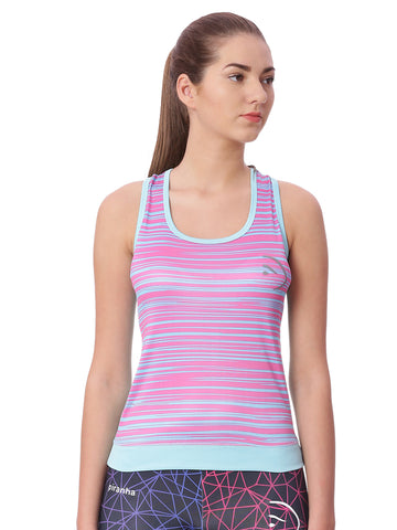 Piranha Women Purple Striped Tank Top