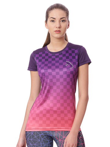 Piranha Women Purple Checked Sports T-shirt