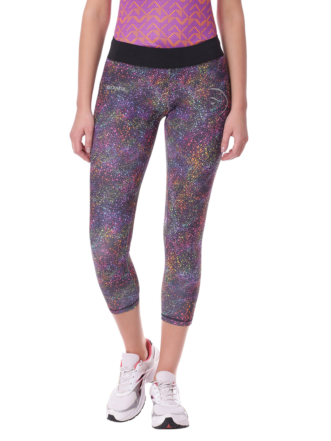Piranha Women Purple Printed Yoga And Running Pants - YP08