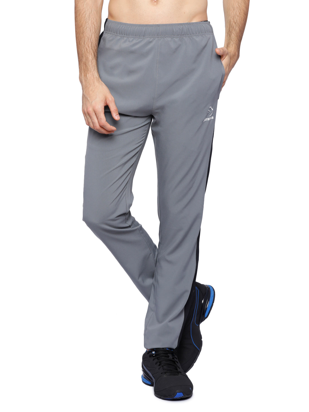 Piranha Men's Grey Woven Track Pants - MTP321