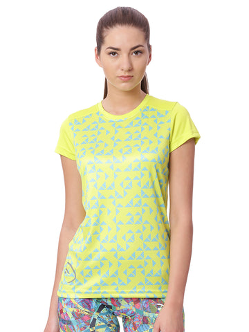 Piranha Women Yellow Printed Sports T-shirt