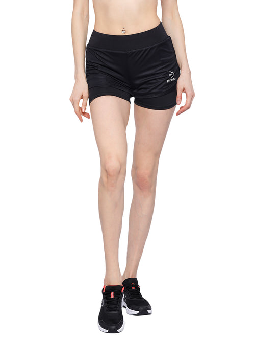Piranha Women's Black Running Shorts - RS95