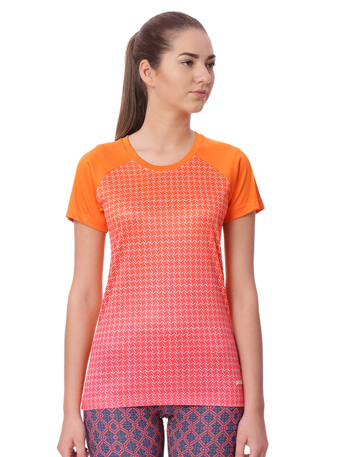 Piranha Women Orange Checked Sports T-shirt