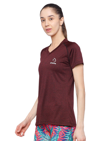 Piranha Women's Maroon T-shirt - TSG192