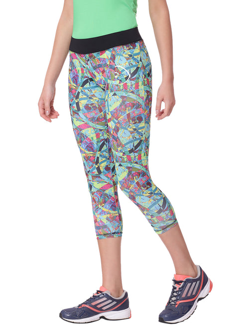 Piranha Women Teal Printed Yoga And Running Pants - YP06