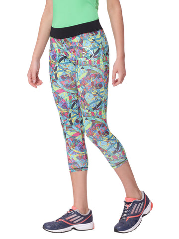 Piranha Women Teal Printed Yoga And Running Pants Capri Length - YP06