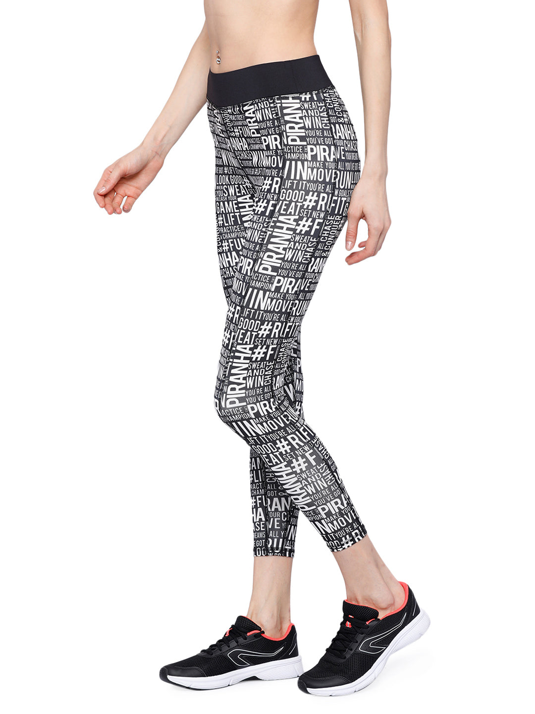 Piranha Women Black Printed Yoga And Running Pants - YP128