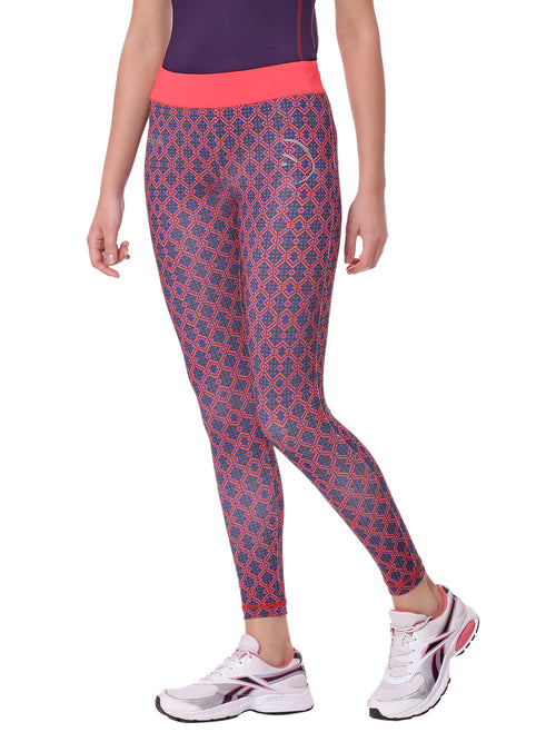 Piranha Women Pink Printed Yoga And Running Pants Ankle Length - YP01