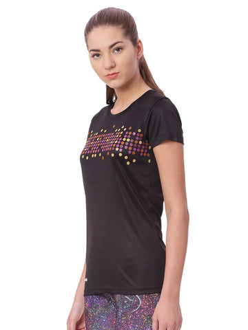 Piranha Black Printed Sports T-shirt