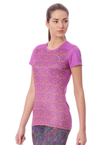 Piranha Women Purple Printed Sports T-shirt