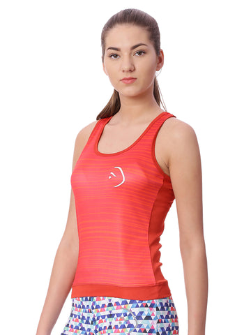 Piranha Women Red Striped Tank Top