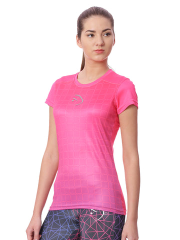Piranha Women Pink Printed Sports T-shirt