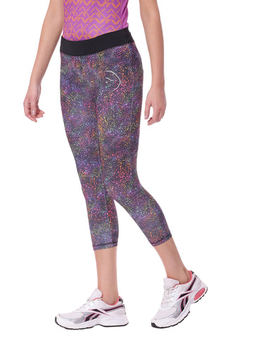 Piranha Women Purple Printed Yoga And Running Pants Capri Length - YP08