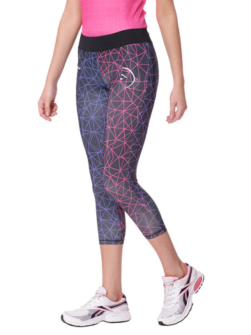 Piranha Women Black Printed Yoga And Running Pants Capri Length - YP03