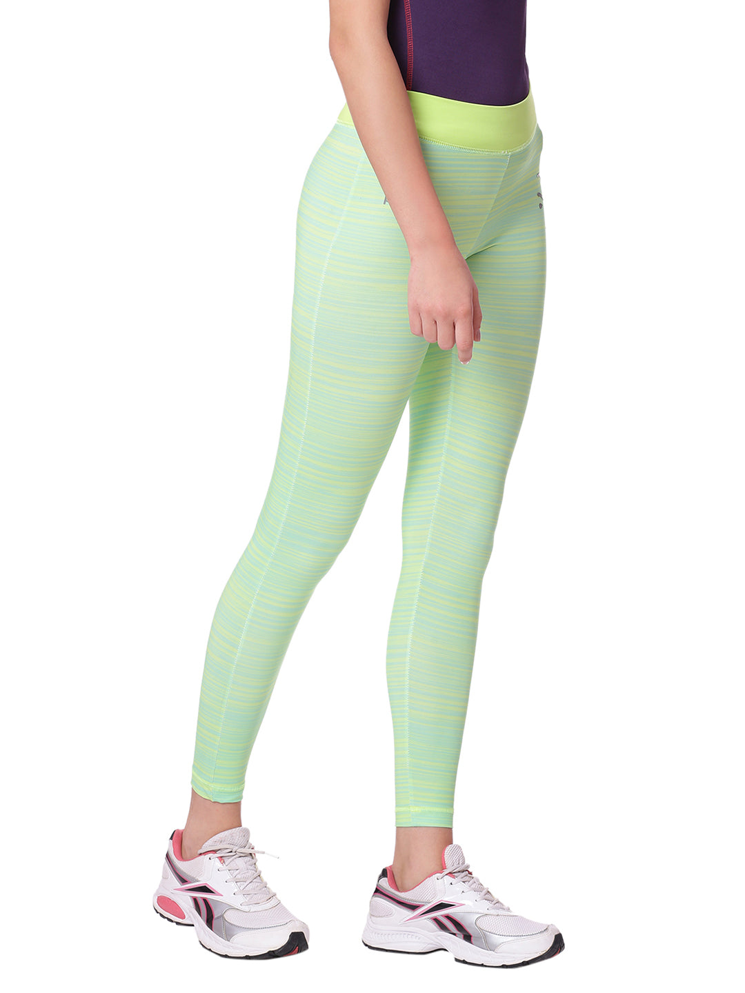 Piranha Women Green Striped Yoga And Running Pants Ankle Length - YP02