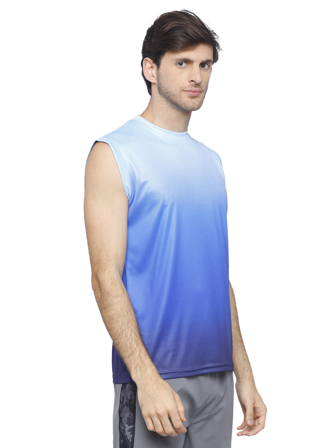 Piranha Blue Sleeveless T-shirt- V315