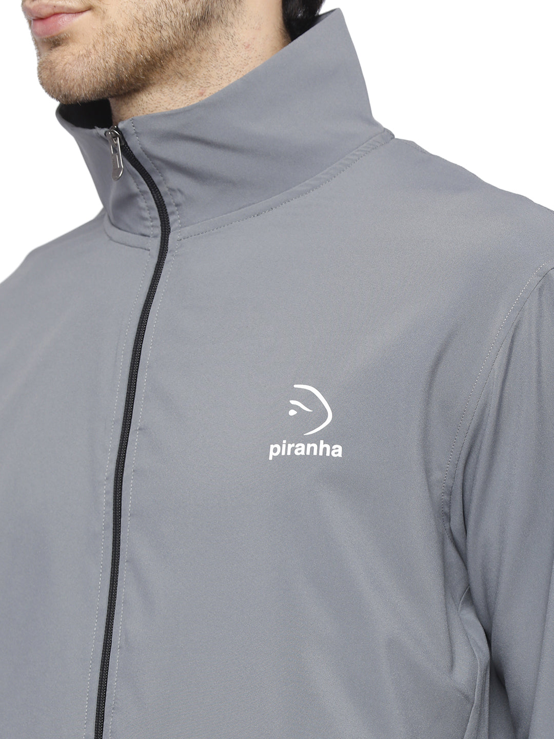 Piranha Men's Grey Woven Track Jacket - MTJ325
