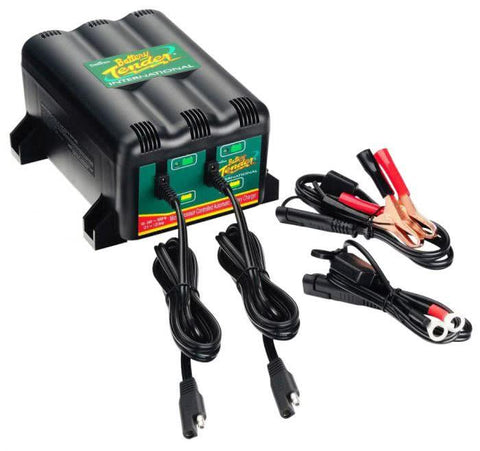 2 motorbike battery  charger 022-0165-DL-WH Battery Tender 1.25A 2 Bank Battery Charger