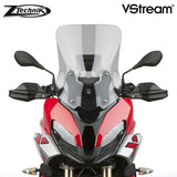 The BMW S1000XR Windscreen V-stream Windshield Ztechnik Z2393 Light Tint Sport Touring Screen 2020 offers improved comfort and performance by giving a significant height and width increase, along with maximum impact or scratch protection for that added piece of mind.   ZTechnik revolutionises windscreen performance with its VStream windshields. While creating a comfortable ride for the BMW sport touring rider, ZTechnik introduces quiet into the equation.