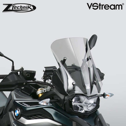 "The BMW F850GS Windscreen V-stream Windshield ZTechnik Z2376 Light Tint Sport Screen 2019 Up is an aggressive-looking adventure sport screen, and gives the F850GS/Adventure rider good wind protection without sacrificing the bike's cutting edge appearance.  The advanced, patent pending ""V"" profile and three-dimensional contours of all VStream windshields create a calm and quiet air pocket for the rider. This improvement is notable for the passenger as well."